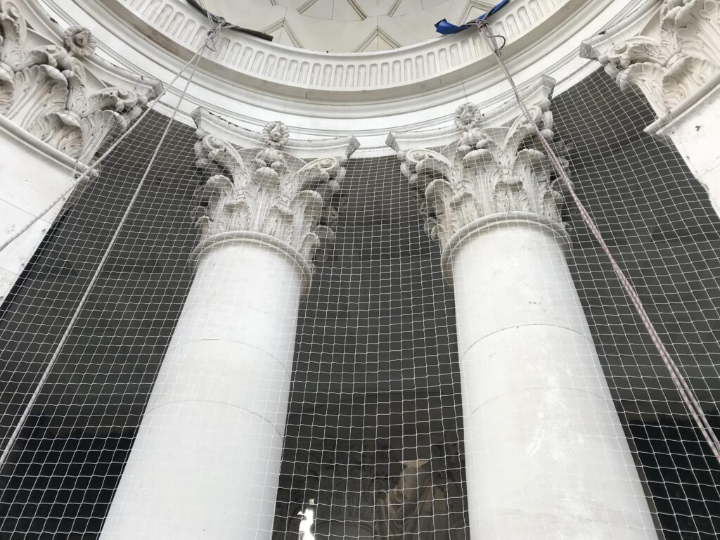 Bird netting installed around the main tower